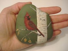Cardinal Hand Painted on A Rock by Ann Kelly | eBay
