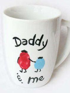 Buy plain mugs from Baker Ross and create these personalised mugs! http://www.bakerross.co.uk/large-white-porcelain-mugs