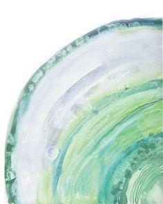 Watercolor Turquoise Geode Slice Art Print