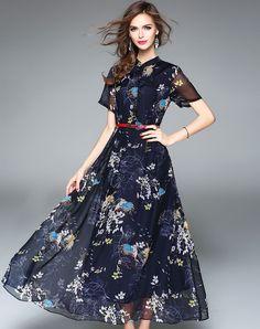 #AdoreWe #VIPme Swing Dresses❤️Designer ES·DANNUO Blue Floral Printed Mesh Chiffon Silk Maxi Dress - AdoreWe.com