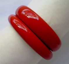 2 vintage Lucite Red chunky stacking bracelets by JustSparkles, $29.99