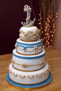 Nautical Wedding Cake with handmade fondant ropes & anchors by robyn