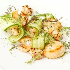 Fresh, sweet scallops are beautifully offset by zingy lime mayonnaise and crunchy cucumber in this pretty dish from Marcus Wareing. Baby Leaf, Shrimp Toast, Light Appetizers, Mayonnaise Recipe, Great British Chefs, Cucumber Recipes, Scallop Recipes, Quick Recipes, Chef Recipes