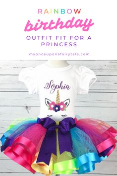 Rainbow Birthday Outfit for Girls - Unicorn Party Tutu Outfit - Personalized Birthday Gift for Toddler - Rainbow Tutu Skirt - Cake Smash Set 1st Birthday Tutu, Little Girl Birthday, Rainbow Birthday, Unicorn Birthday Parties, Birthday Celebration, Tutu Outfits, Girl Outfits, Summer Party Themes, Satin Ribbons