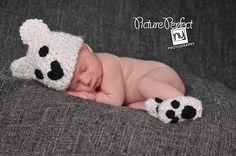 Polar Bear Baby Hat & Booties Set