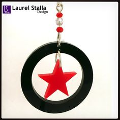 Star necklace with glass & crystal beads.  #lasercut #jewelry #handmade #acr
