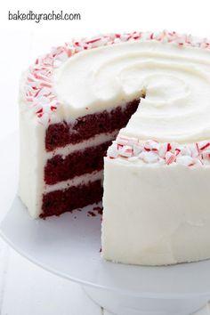 Red velvet layer cake with peppermint cream cheese frosting recipe from @bakedbyrachel #redvelvet #cake #recipe #peppermint #christmas