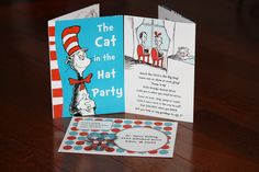 The Cat In The Hat Party Invitation - a rewritten book to include the birthday boy/girl + party details + envelope!