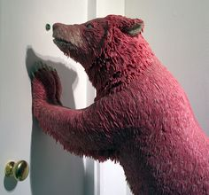 'Grizzly bear' bubblegum sculpture by maurizio savini, photo: caters    over the last 10 years italian artist maurizio savini has been creating a series of sculptures   using thousands of pieces of chewing gum. the life size sculptures include a buffalo,   a grizzly bear and suited businessmen suspended in gymnastic poses. his works have been   exhibited internationally and some of his pieces have sold for approximately 55 000USD.   they have recently been shown at testori UK gallery…