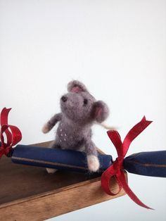Little Needle felted mouse with big candy present for Christmas. Handmade by Troha