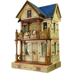 Antique Gottschalk Blue-roofed Villa with two Furnished Rooms and Dollhouse dolls. .....Rick Maccione-Dollhouse Builder www.dollhousemansions.com