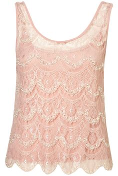 Scallop Lace Embellished Top