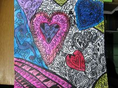 4th grade Valentines day Heart Painting