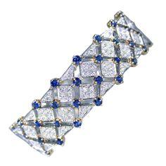 Tiffany & Co. Trellis Sapphire Diamond Bracelet | From a unique collection of vintage more bracelets at http://www.1stdibs.com/jewelry/bracelets/more-bracelets/