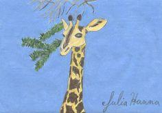 Giraffe colored pencil drawing by Julia Hanna.