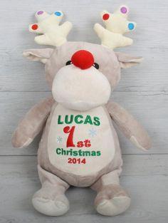 Rudolf Personalised Teddy Personalised Teddy Bears, Babys 1st Christmas, Dinosaur Stuffed Animal, Dolls, Gifts, Animals, Personalized Teddy Bears, Presents, Animales