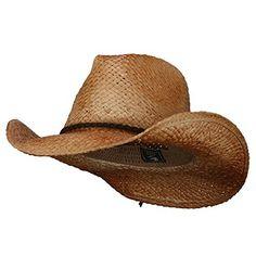 8388aa58fa9 Stetson Men s Stallion Bullock Straw Shapeable Cowboy Hat Black Large Mens Cowboy  Hats