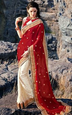 Picture of Fancy Cream and Red Brasso Wedding Saree Online Shopping