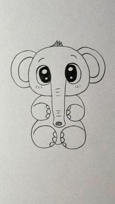 Easy Cartoon Drawings, Easy Animal Drawings, Easy Doodles Drawings, Cute Little Drawings, Cute Easy Drawings, Art Drawings For Kids, Art Drawings Sketches Simple, Elephant Drawing For Kids, Cartoon Elephant Drawing