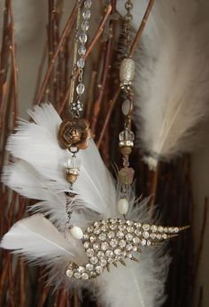 From Above-antique vintage paste rhinestone angel wing assemblage necklace <3