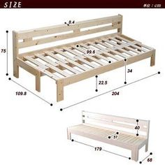 Wooden Sofa Day Bed Frame w/ Foldable Trundle WhiteDIY Camper Couch/Bed with storage. Folding Furniture, Pallet Furniture, Furniture Plans, Rustic Furniture, Home Furniture, Furniture Design, Furniture Dolly, Refurbished Furniture, Plywood Furniture