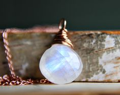 Rainbow Moonstone Rose Gold Necklace  Wire Wrap White by PoleStar