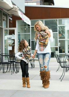 Mommy and Me Perfect For Fall Oversized Blanket Scarf Gray - Ryleigh Rue Clothing by Modern Vintage Boutique Mother Daughter Photos, Mother Daughter Outfits, Mommy And Me Outfits, Cute Fall Outfits, Mom Daughter, Girl Outfits, Mother Daughters, Picture Outfits, Autumn Outfits