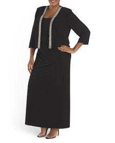 Plus 2 Piece Jacket Long Gown