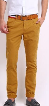 Get 35% OFF ON Mast & Harbour Men Mustard Yellow Chino Trousers. Team this pair with a striped pique polo T-shirt and suede loafers for the perfect yacht club look.