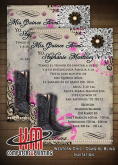 western - chic bling  Sweet 16 or Quinceañera invitation Printed or Digital Available