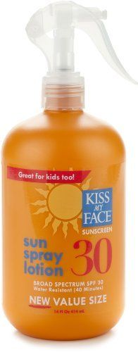 Kiss My Face Sun Spray Lotion Sunscreen SPF 30, 14 Fluid Ounce by Kiss My Face. Save 15 Off!. $16.98. Rubs in clear great for kids. Easy to apply trigger spray. Value size water resistant. New 14 ounce value size of our top-selling sun spray lotion SPF 30. Broad spectrum, water resistant protection in a bottle large enough to keep the entire family protected. Convenient trigger spray for easy application. Moisturizing formula rubs in smooth and clear. No parabens, phthalates or artifi...