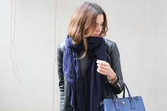 A Blogger Wears Black: How To Style a Navy Blue Cashmere Shawl