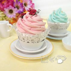 12 X White Laser Cupcake Wrappers Wraps Collars Liners Wedding Party Favor Decor