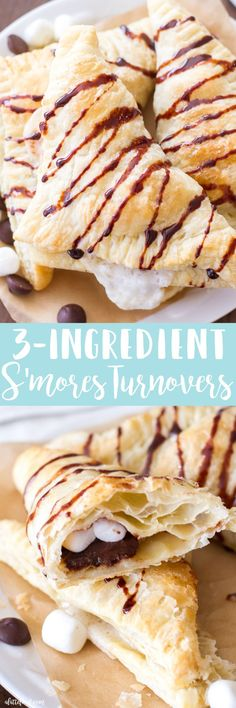 This easy s'mores turnover recipe is made with only 3-ingredients! Warm chocolate and gooey marshmallows stuffed inside flaky pastry dough? Homemade s'mores turnovers are always a crowd favorite!