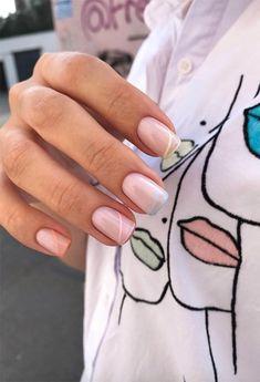 Short Nail Manicure, Nude Nails, Gel Nails, Short Pink Nails, Long Nails, Long Nail Designs, Acrylic Nail Designs, French Nail Designs, Colorful Nail Designs