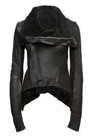 Dang!! Awesome black leather modern motorcycle jacket. Asymmetrical drape