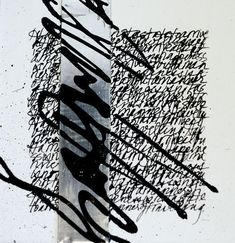 Calligraphy inspired encaustic work by Nancy Crawford. www.nancycrawfordartist.com #abstractart