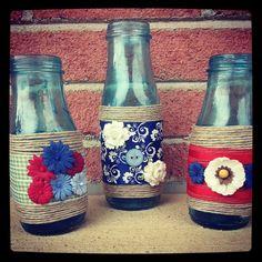 Mason Jars Decorated Jars. Diy wedding. Country chic Rustic Style Shabby Chic, $35.0