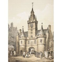 The Netherbow Port Edinburgh Scotland Demolished 1764 From The Scots Worthies According To Howies Second Edition 1781 Published 1879 Canvas Art - Ken Welsh Design Pics (12 x 17)