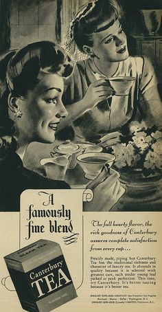 Canterbury Tea, 1944. Love the formality of the setting and clothing for tea.
