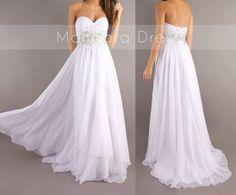 White Long Prom Dress Sweetheart Beading Prom Dress Long Dress -Custom Made on Etsy, $166.80 CAD