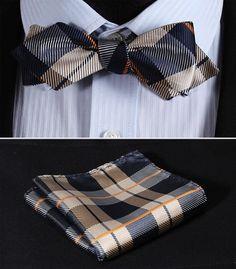JC403N Orange Navy Blue Check Silk Men Diamond Point Tip Self Bow Tie Pocket Square Handkerchief Hanky Suit Set