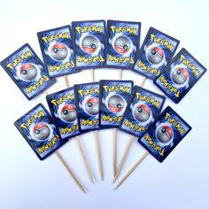 Pokemon Card Cupcake Toppers, Pokemon Birthday Party, Party Decor, Pokemon Go by CrazyTops on Etsy https://www.etsy.com/listing/467128365/pokemon-card-cupcake-toppers-pokemon
