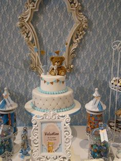 Lovely teddy bear baptism party! See more party planning ideas at CatchMyParty.com!