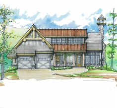 Bee Branch Camp Front Elevation -- Natural Element Homes, 1,110 sq ft main floor, basement could have 3 bedrooms and mud room