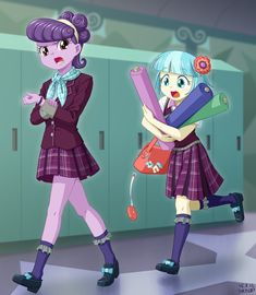 #956129 - artist:uotapo, bag, carrying, clothes, clumsy, cocobetes, coco pommel, crystal prep academy, crystal prep academy uniform, cute, dropping, equestria girls, equestria girls-ified, fabric, frown, glare, keychain, :o, open mouth, purse, running, safe, school uniform, skirt, suri polomare, uotapo is trying to murder us, watch, wristwatch - Derpibooru - My Little Pony: Friendship is Magic Imageboard