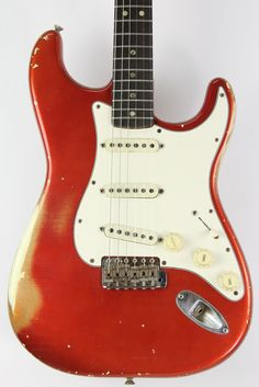 Fender Stratocaster 1967 Candy Apple Red Over Olympic White Double Custom Color! | Reverb