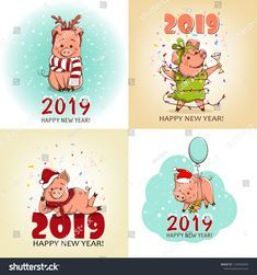 Set of cards. Cute little pig in the New Year's image. This animal is the Symbol of the New Year. Happy New Year Banner, Happy New Year 2019, Kids Bulletin Boards, New Year Illustration, Decopage, Pig Art, New Year Images, Baby Pigs, New Year Card