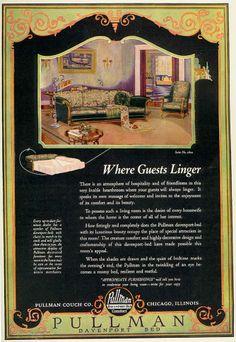 advertisement for Pullman davenport bed 1920s Advertisements, 1920s Ads, Vintage Ephemera, Vintage Ads, Vintage Designs, 1930s Home Decor, Vintage Home Decor, Elsie De Wolfe, 1920s House