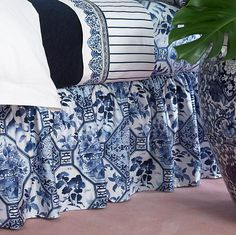 white and blue luxury bed skirt